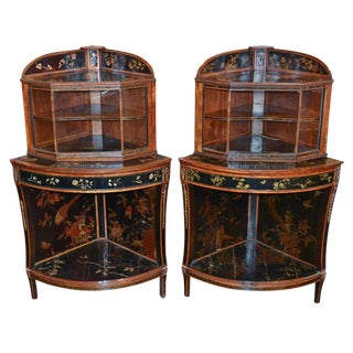 Pair of English Chinoiserie Corner Cabinets