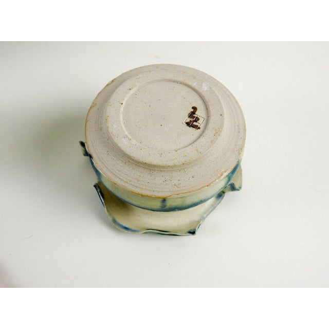 Studio Pottery Hand Thrown Teal & White Vase - Image 6 of 7