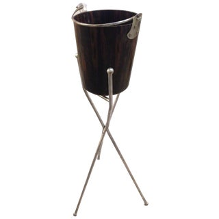 Mid-Century Ice Bucket and Metal Stand