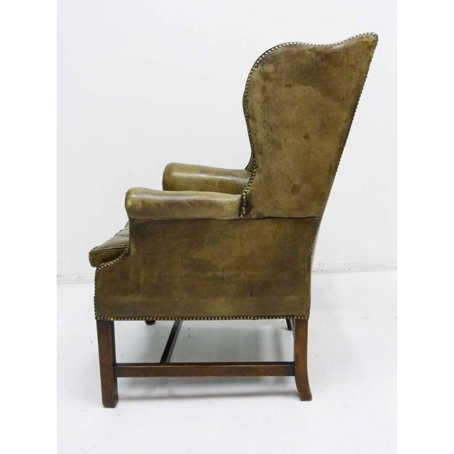 Distressed Leather 19th C. Wingback Chair - Image 7 of 10