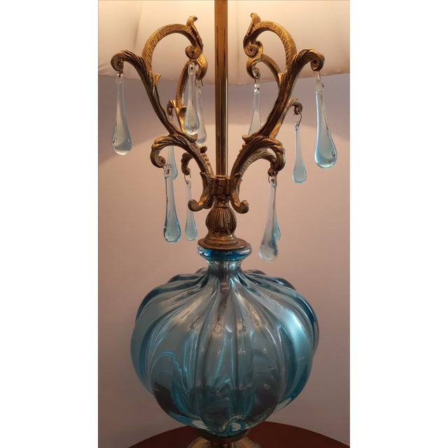 Hollywood Regency Turquoise Murano Lamp - Image 3 of 5
