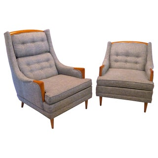Mid-Century Linen Club Chairs - A Pair