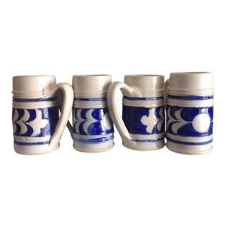 Handmade Ceramic Beer Steins - Set of 4