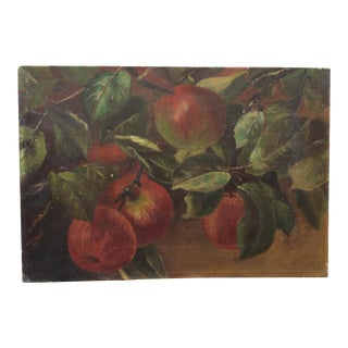 19th Century French Apples Oil Painting on Canvas