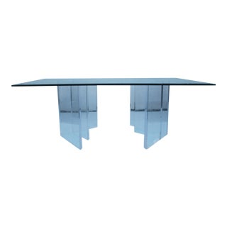 Sculptural Lucite & Glass Dining Table