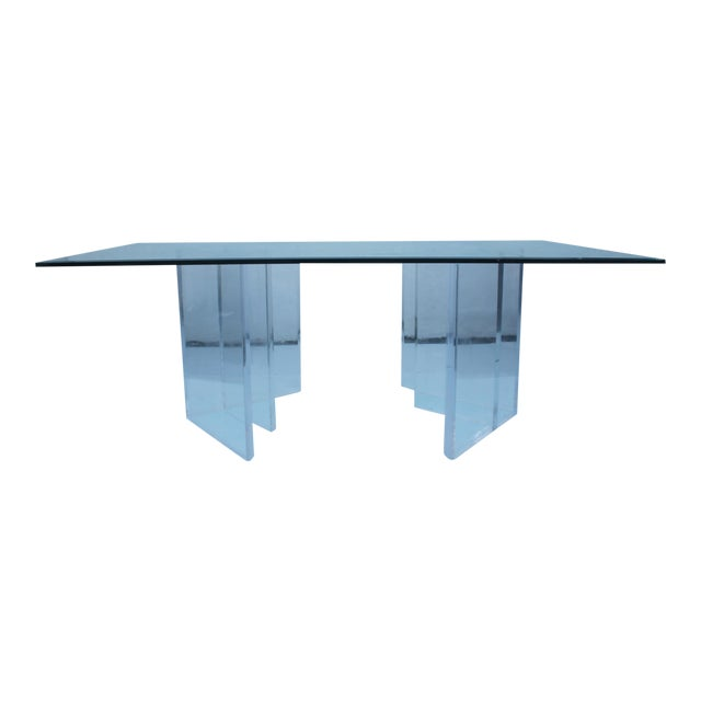 Image of Sculptural Lucite & Glass Dining Table