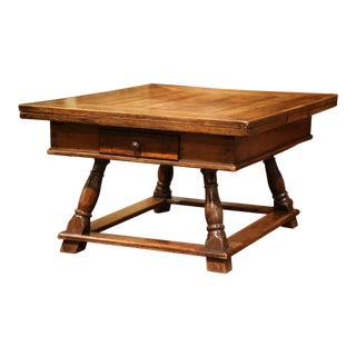 18th Century French Walnut Coffee Table with Drawers and Pull Out Leaves