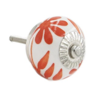 Orange & White Ceramic Knobs - Set of 6