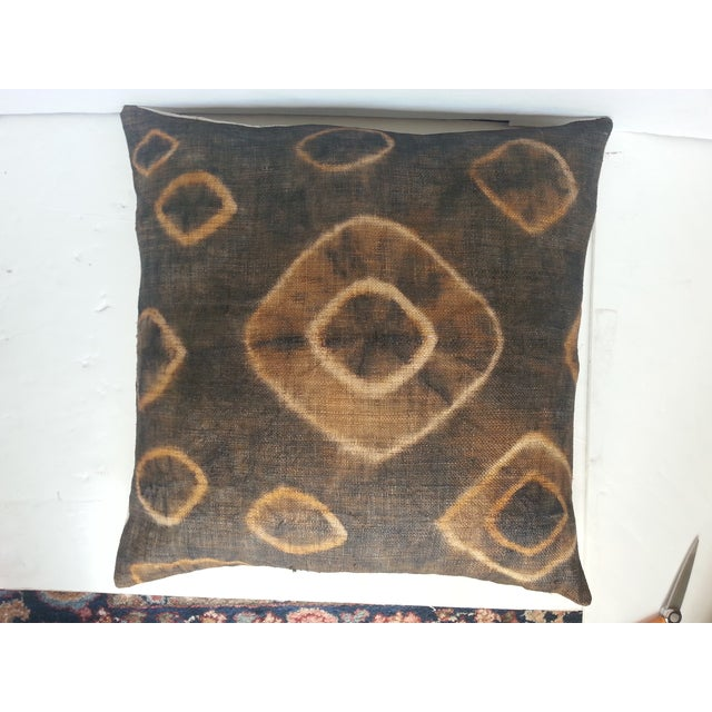 African Gray Tie Dye Kuba Cloth Pillows - A Pair - Image 3 of 5