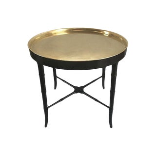 Faux-Bamboo X-Base Brass Tray Table