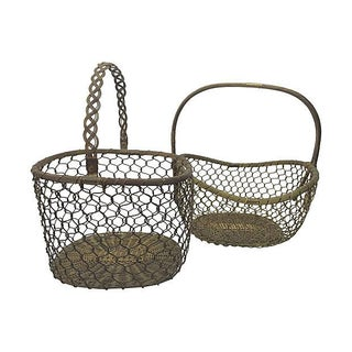 Vintage Woven Brass Baskets - A Pair