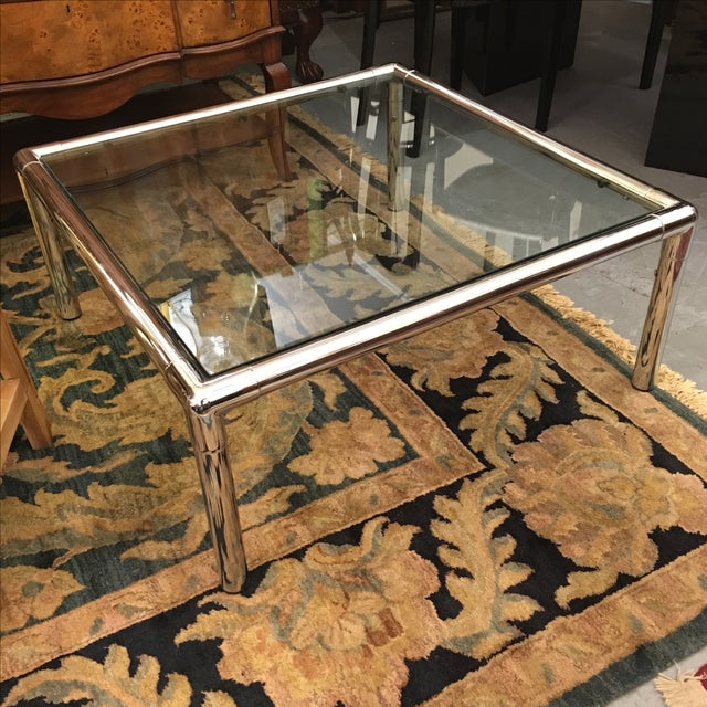 Chrome & Glass Square Coffee Table - Image 2 of 6
