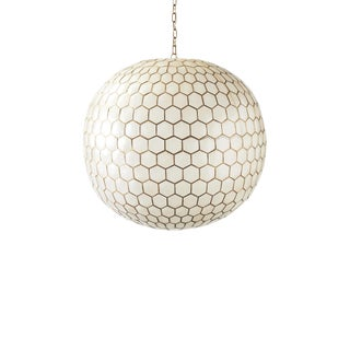 White Capiz Honeycomb Chandelier