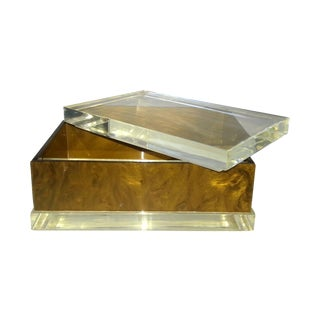 Art-Deco Handcrafted Lucite Jewelry Box