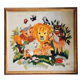 Vintage Framed Animal Kingdom Needlepoint Art