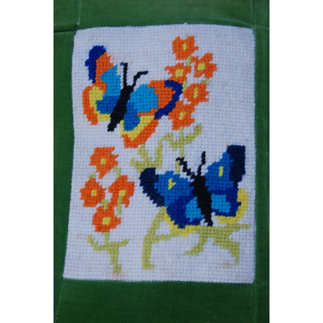 Image of Vintage 1970's Butterfly Needlepoint Pillow