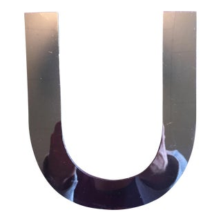"Vintage MCM Dimensional Chrome Sign Letter ""U"""