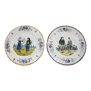 Henriot Quimper Hand-Painted Plates - A Pair