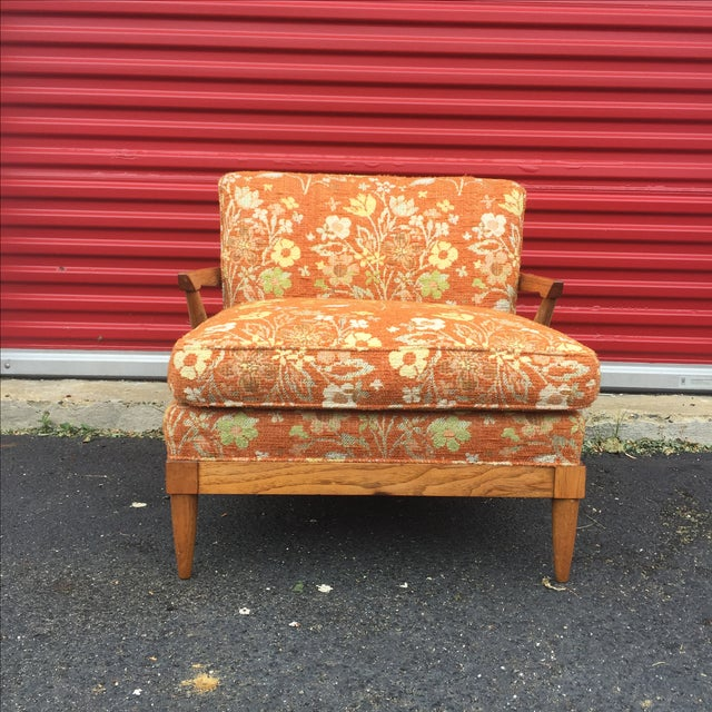 Mid-Century Orange Floral Lounger - Image 3 of 10