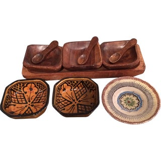 Primitive Ethnic Assemblage Serving Dish Set
