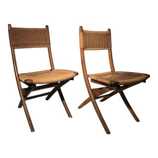 Hans Wegner Style Folding Chairs - A Pair