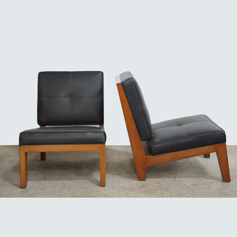 Walnut And Black Leather Slipper Chair   Image 6 Of 6