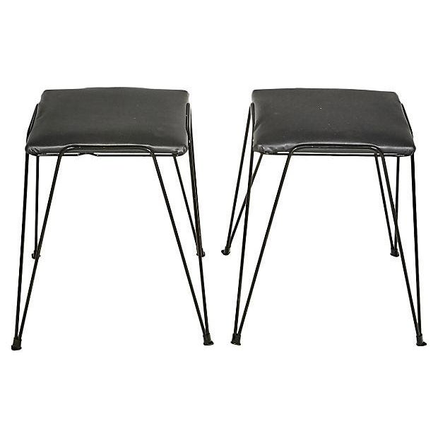 1960s Black Hairpin-Style Stools - Pair - Image 3 of 5