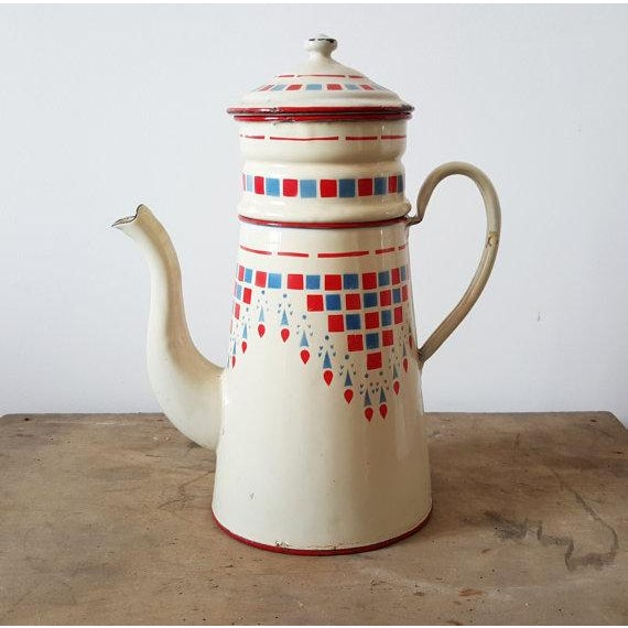 1960s French Vintage Enamelware Coffee Pot - Image 2 of 4
