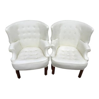 Wing Back Barrel Chairs - Pair