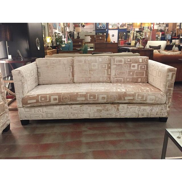 Custom Mid Century Sofa in Champagne Velvet - Image 10 of 11