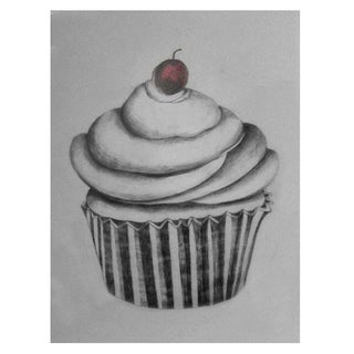 Cupcake with Red Cherry by Sylvia Roth
