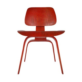 Eames for Herman Miller DCW Mid-Century Modern Red Aniline Plywood Side Chair