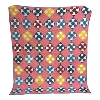 Vintage Colorful Handmade Quilt