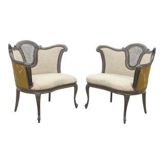 French Taste Silk Club Chairs - A Pair