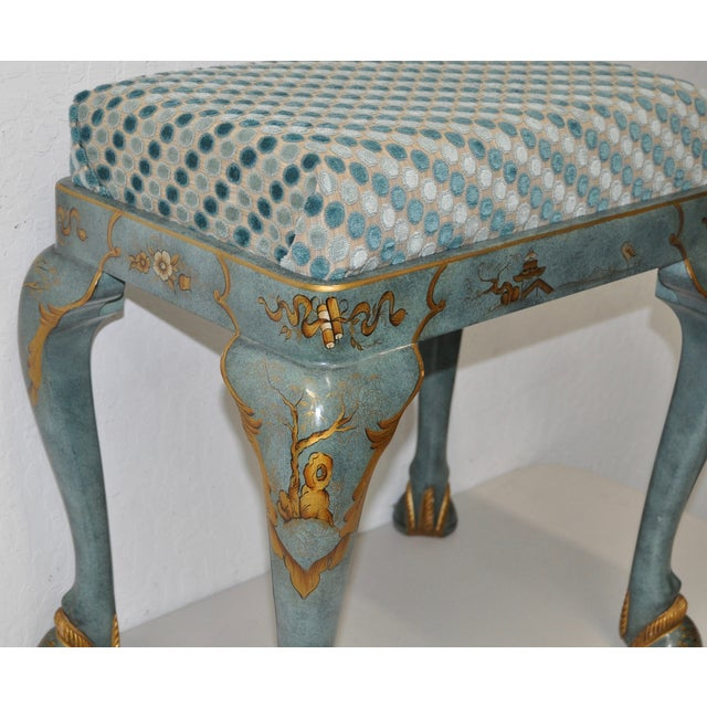 1960s Baker Furniture Upholstered Chinoiserie Seat - Image 4 of 8
