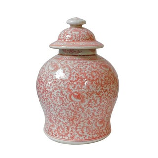 Chinese White and Coral Porcelain Ginger Jar