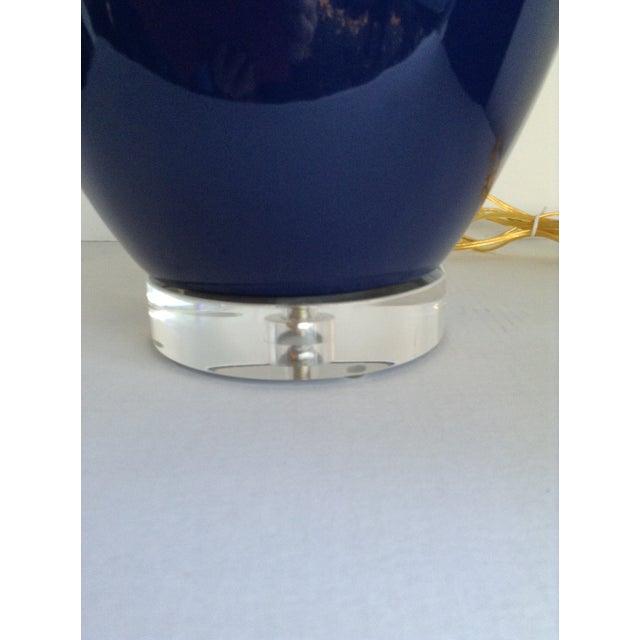 Vintage Cobalt Blue Ginger Jar Lamps - Pair - Image 4 of 6