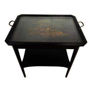 1950s Vintage Chinoiserie Painted Tray Table