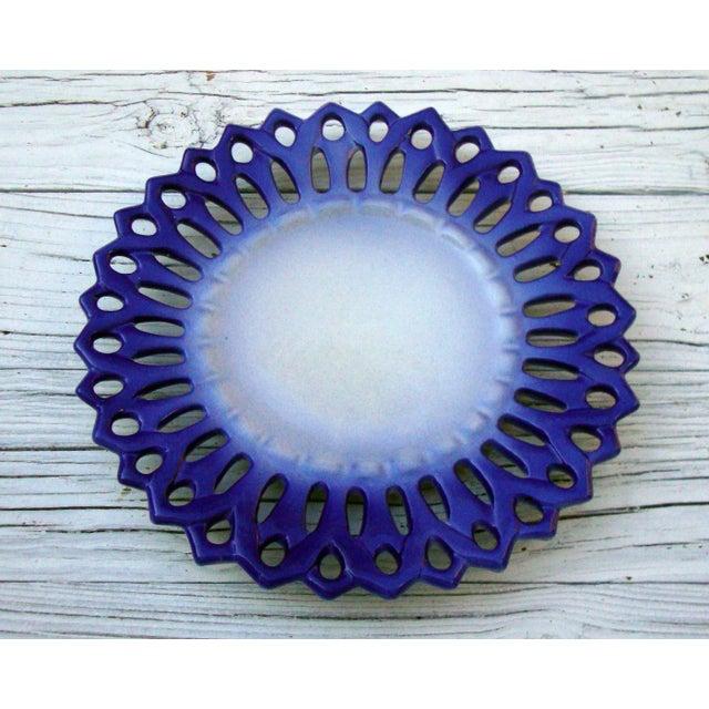Vintage Portuguese Majolica Ceramic Blue Platter - Image 3 of 6