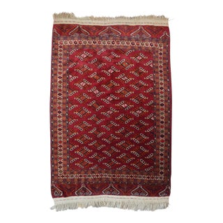 """Vintage Hand Knotted Yomut Rug - 4'1"""" X 6'1"""""""