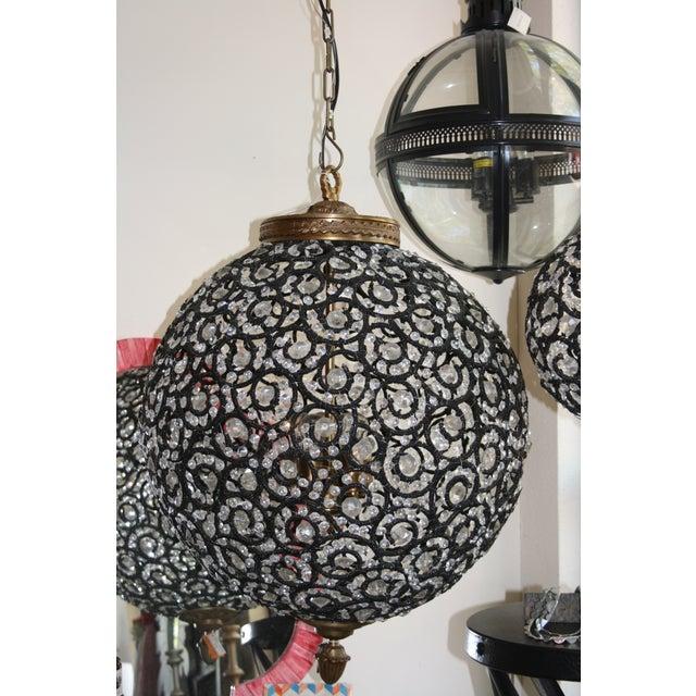 Large Crystal Black Swirl & Brass Chandelier - Image 3 of 5