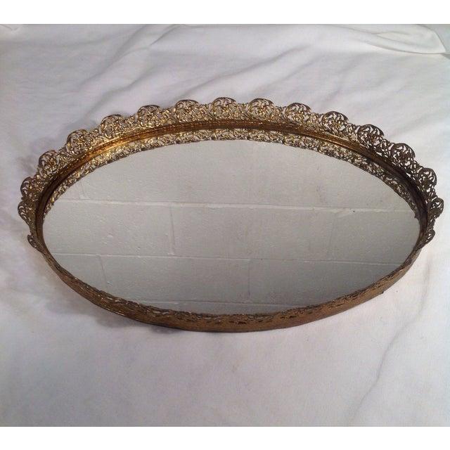 Ornate Mid-Century Brass Mirrored Tray - Image 2 of 4