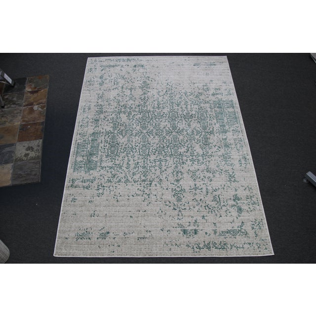 "Teal Distressed Patterned Rug - 8'x10'7"" - Image 7 of 7"
