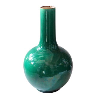 Late 19th Century Green Crackle Vase