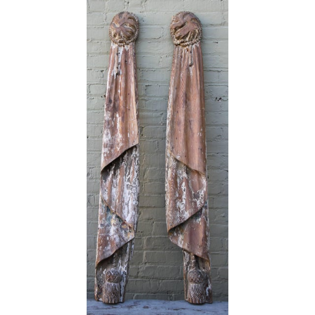 Image of Monumental 19th Century Italian Carvings, Drapery with Tassels