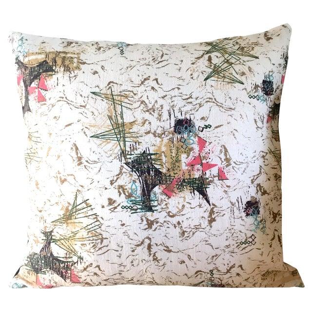 Mid-Century Barkcloth Pillow - Image 1 of 5