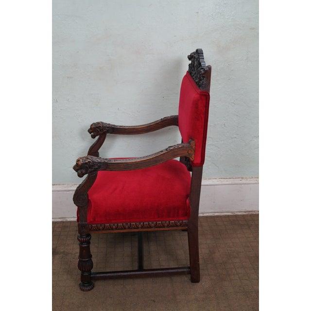 Antique Lion Head Solid Oak Renaissance Arm Chair - Image 3 of 10