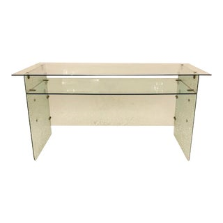 Gio Ponti Attribution Rare Large All Glass Mid Century Desk