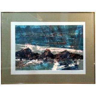 "Howard Bradford 1955 ""Surf & Ship #1"" Serigraph"