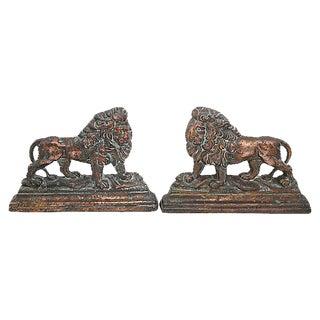 Antique English Lion Doorstops - Pair